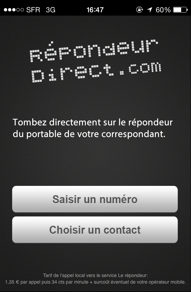 Page d'accueil de l'application RepondeurDirect.com